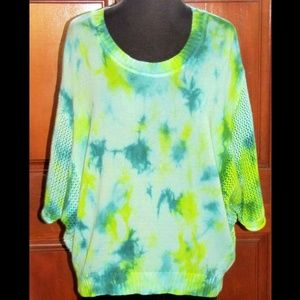 RXB green cotton rayon blend batwing sweater M